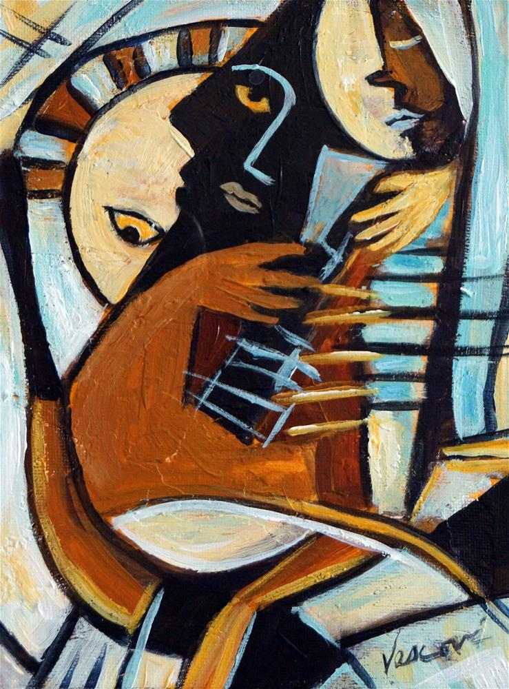 """The Guitarist, 8x6"" original fine art by Valerie Vescovi"
