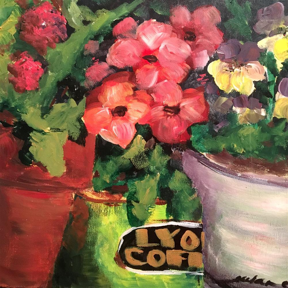 """""""Gilly's Pansies"""" original fine art by Susan Elizabeth Jones"""
