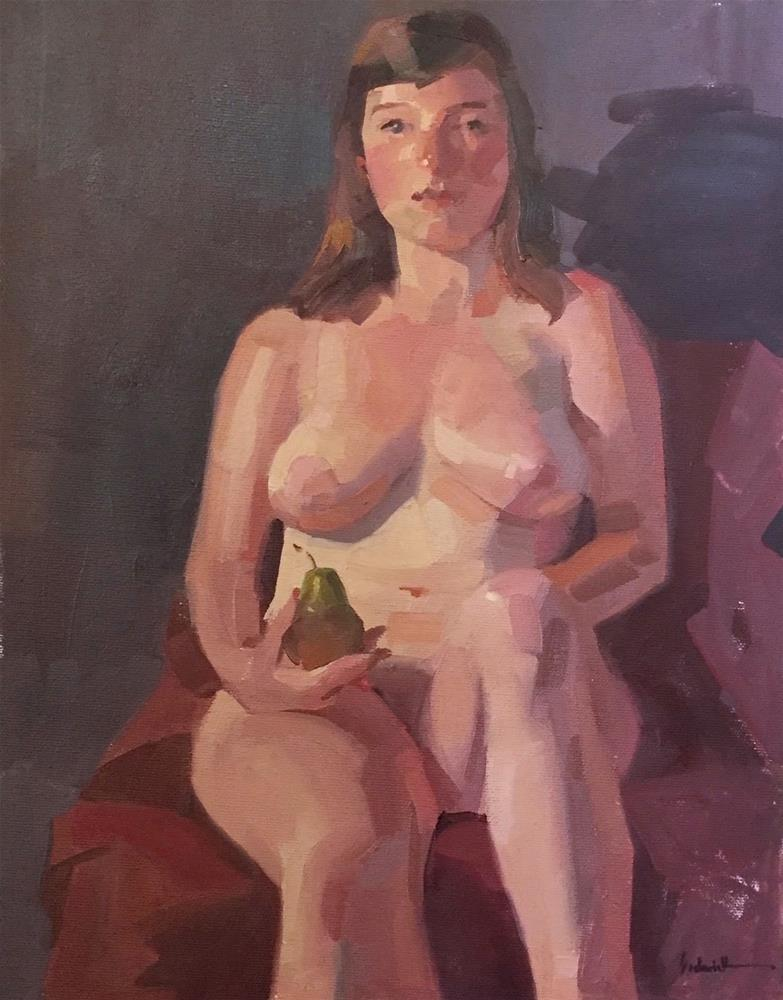 """Nude with a Pear"" original fine art by Sarah Sedwick"