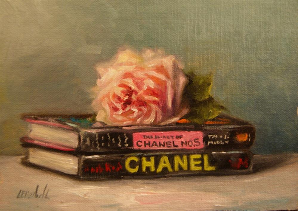 """""""Book Collection: Chanel,  Oil on 5x7 Linen Panel Click here to bid on available paintings."""" original fine art by Carolina Elizabeth"""
