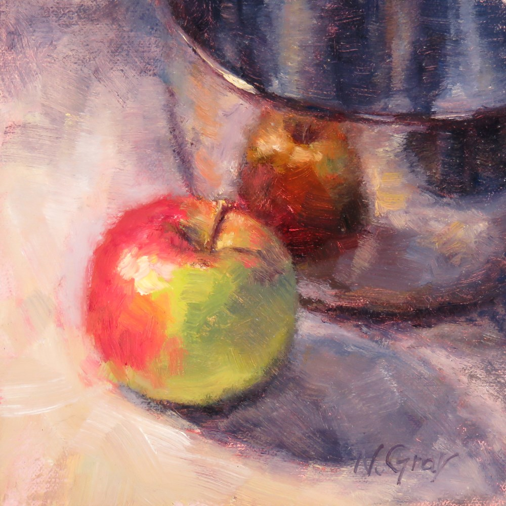 """Apple and Silver Bowl"" original fine art by Naomi Gray"