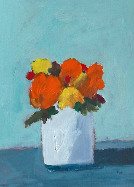 """Orange on Aqua"" original fine art by Pamela Munger"