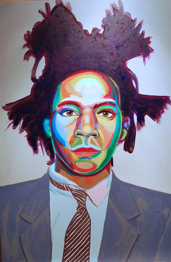 """Jean Michel Basquiat (color contact 10)"" original fine art by michael vigneux"