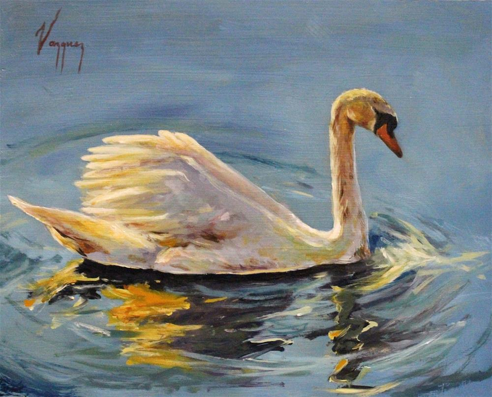 """White swan blue lake"" original fine art by Marco Vazquez"