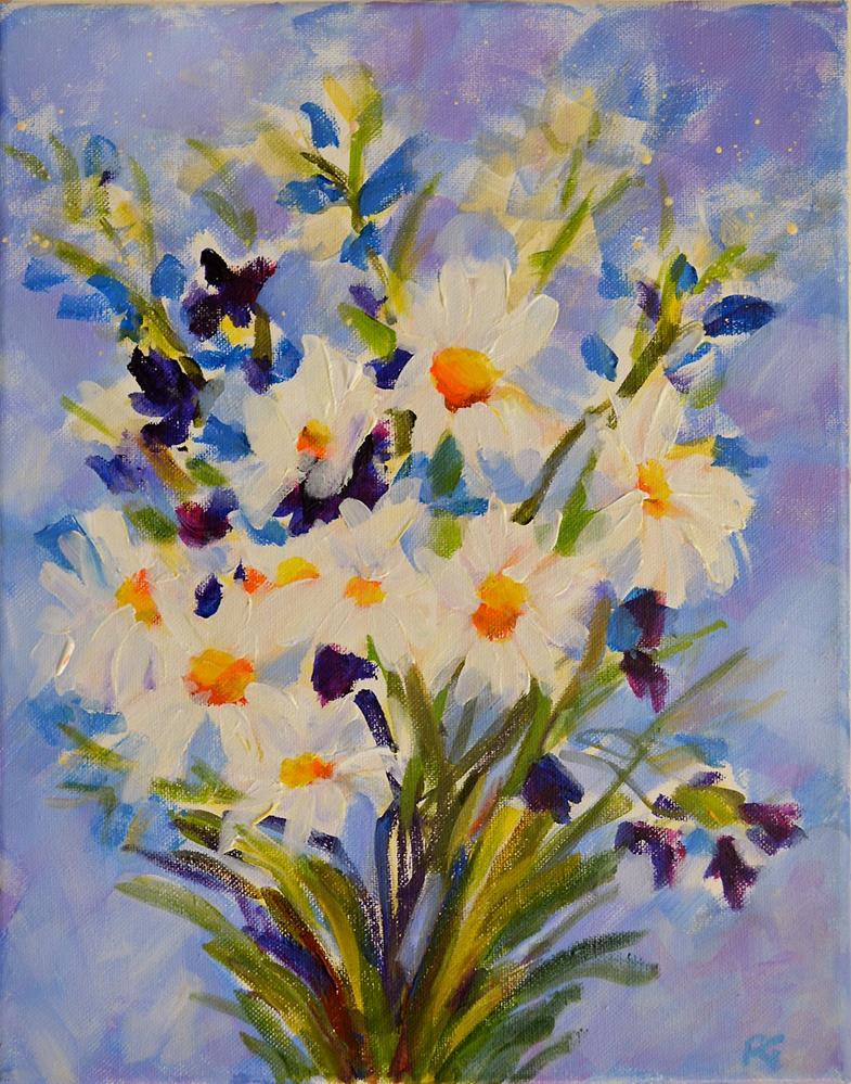 """""""Daisies and Blue Bells"""" original fine art by Pamela Gatens"""