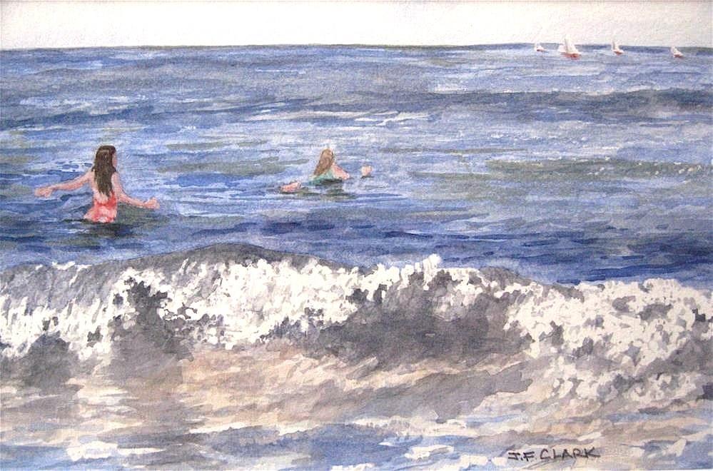 """Surfer Girls"" original fine art by Judith Freeman Clark"