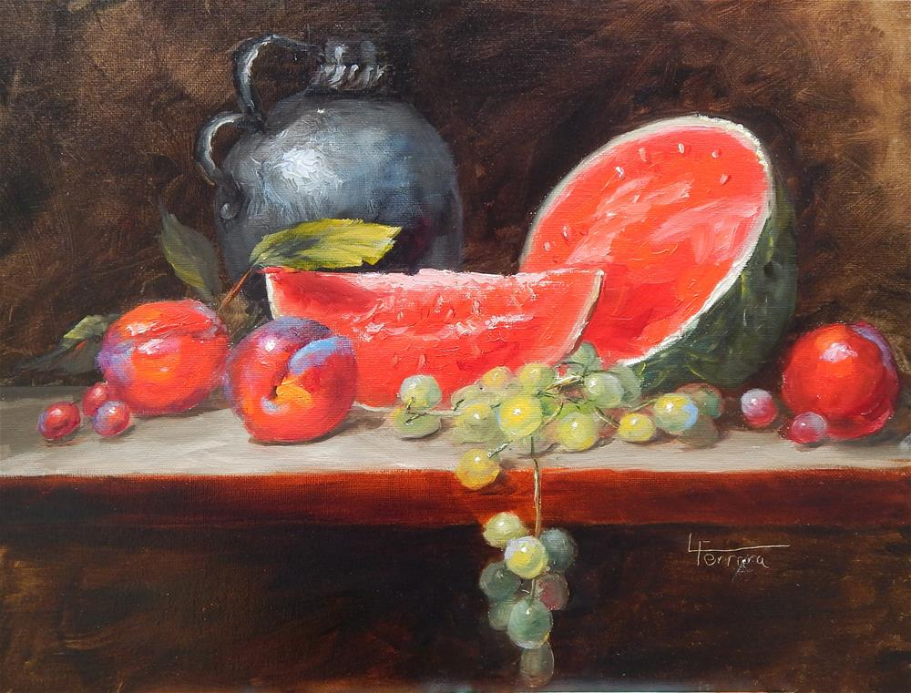 """Watermelon After Edmundson"" original fine art by Lina Ferrara"