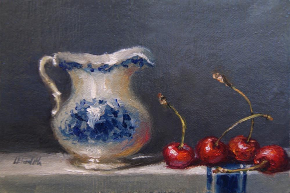 """Flow Blue Pitcher with Cherries,  Oil on 4x6 Linen Panel"" original fine art by Carolina Elizabeth"