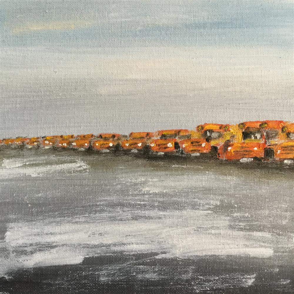 """Attack of the school buses"" original fine art by pamela kish"