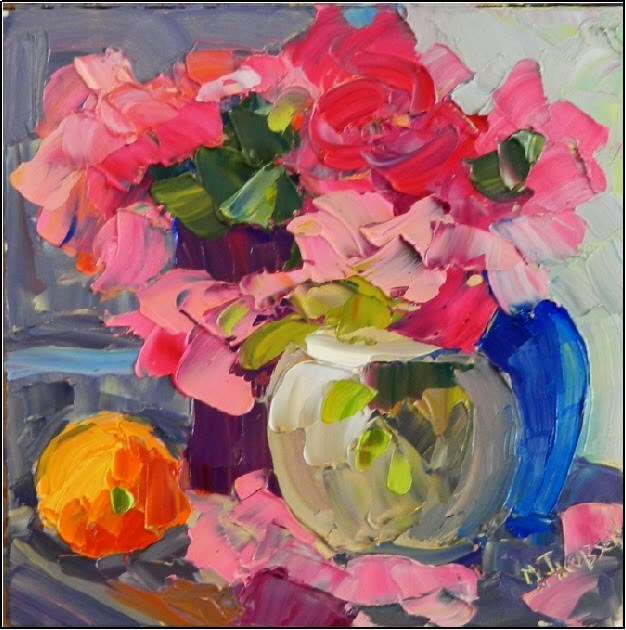 """Last of the Peonies, 8x8, oil on board, peonies, orange, pink blooms, impasto, palette knife flora"" original fine art by Maryanne Jacobsen"