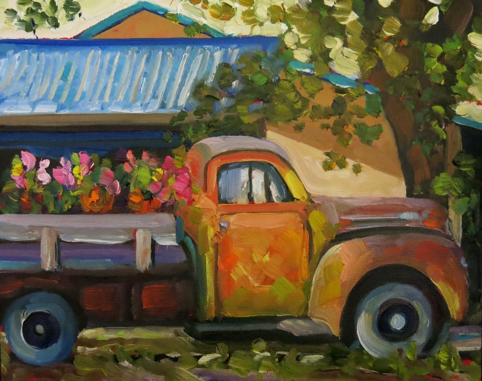 """#117  THE FLOWER TRUCK"" original fine art by Dee Sanchez"