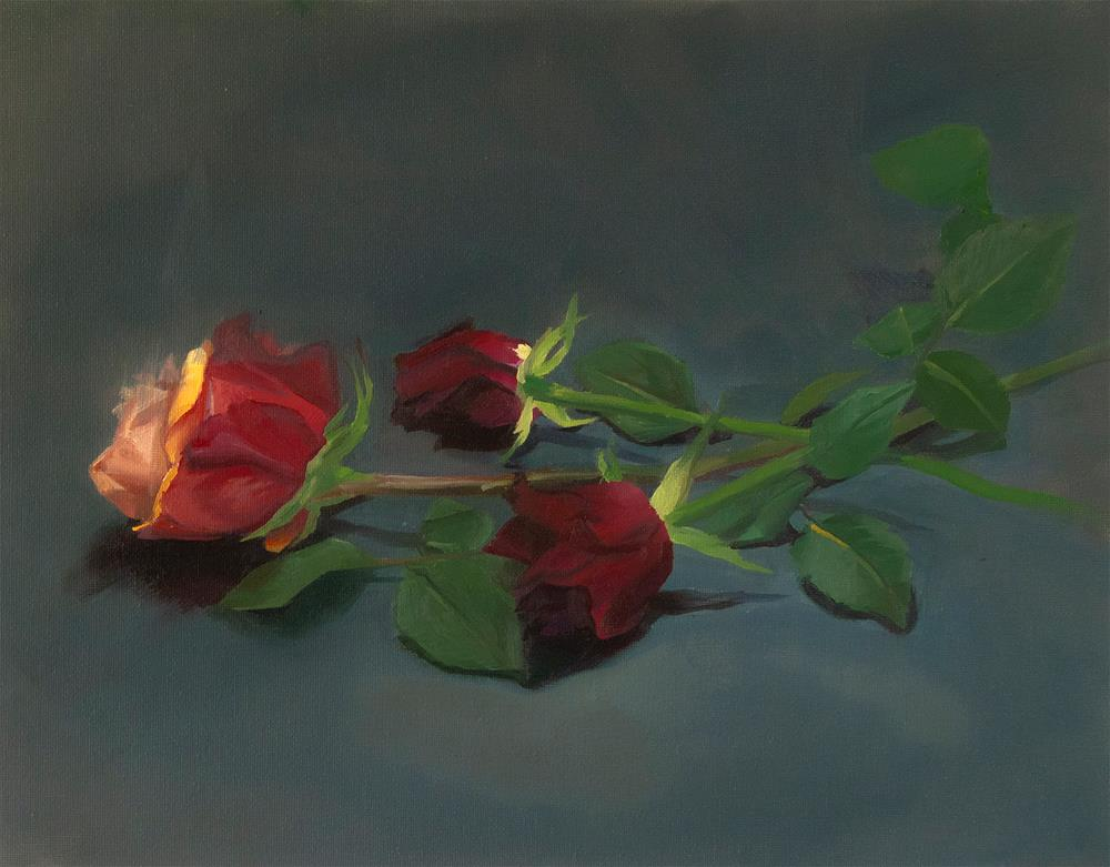 """3 Roses"" original fine art by James Dewing"