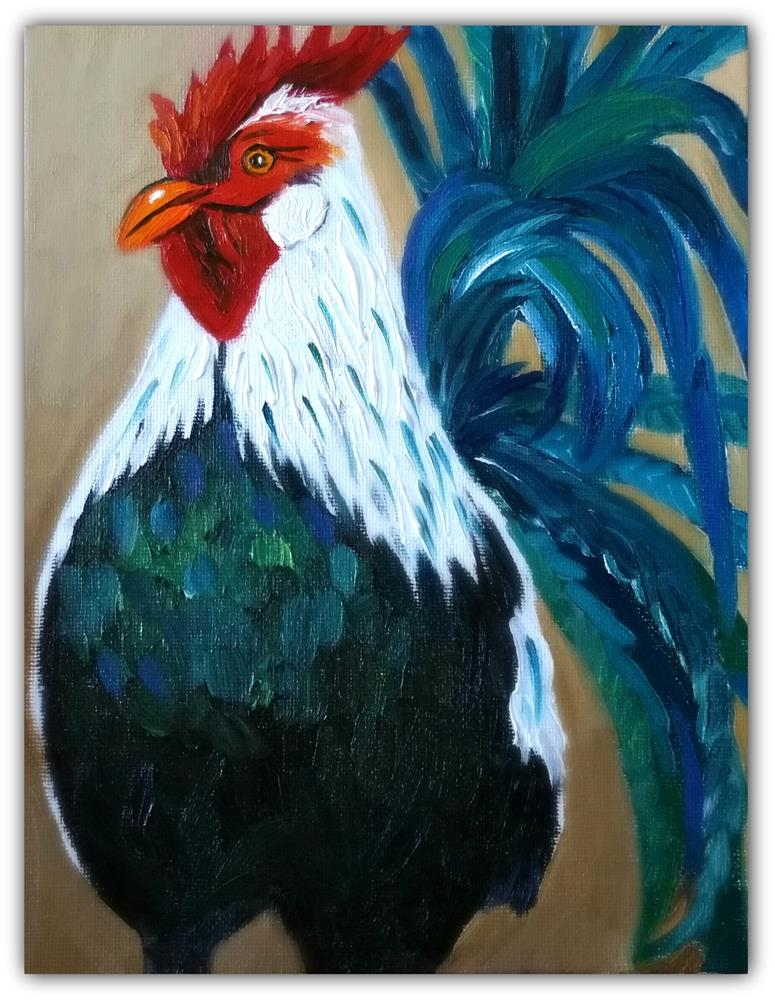 """PROUD ROOSTER"" original fine art by Dana C"