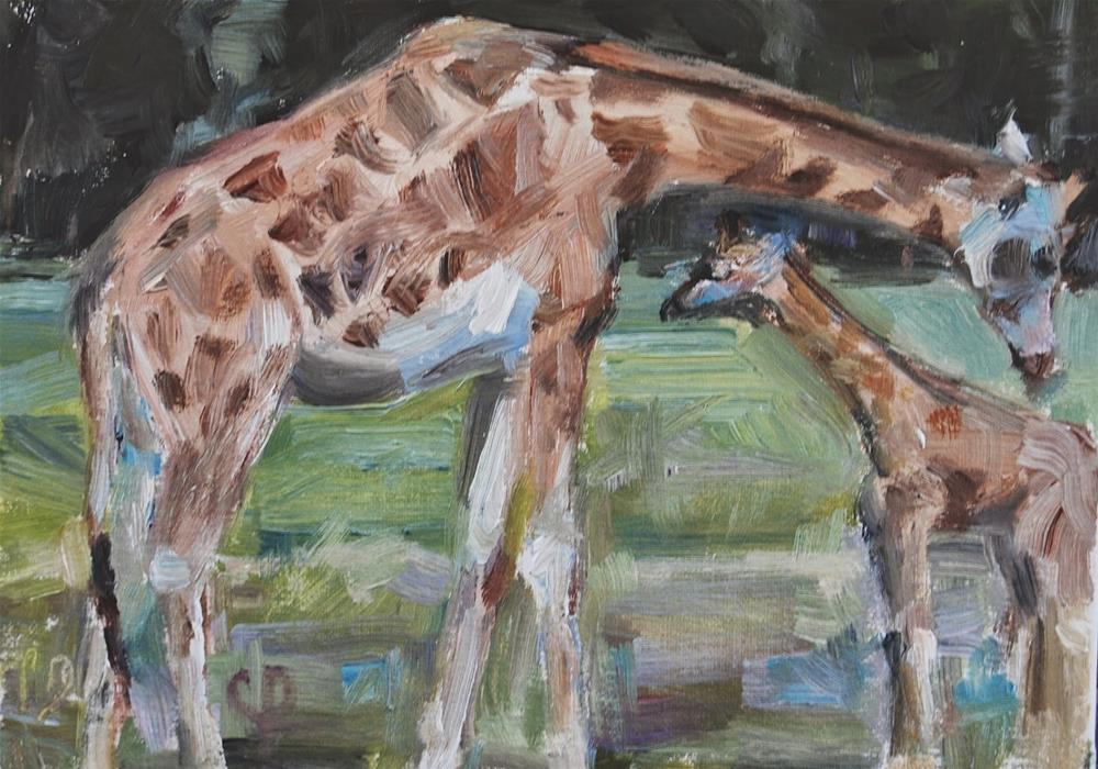 """Giraffe Painting, Original oil by Carol DeMumbrum"" original fine art by Carol DeMumbrum"