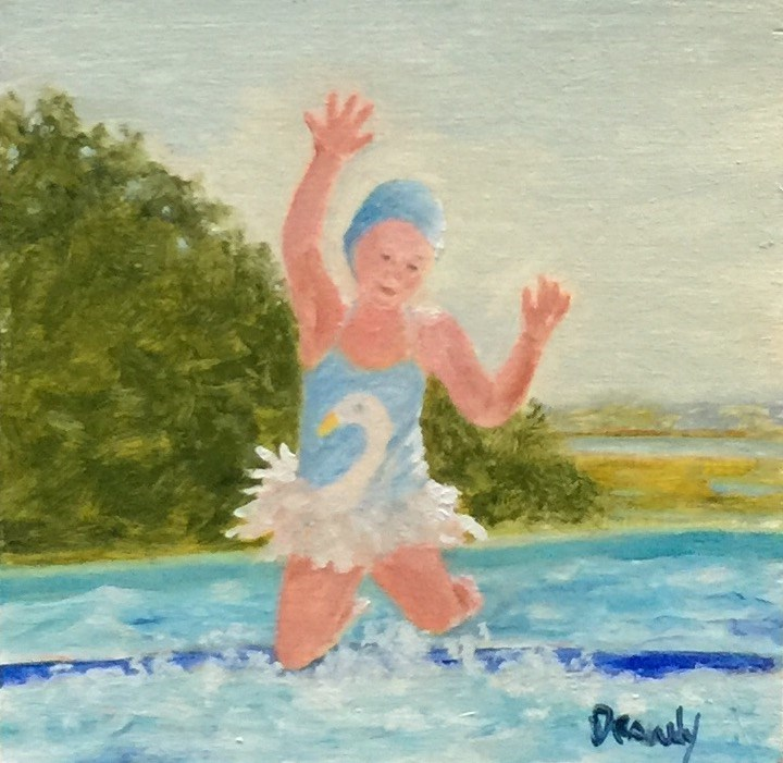 """Girl in Swim Cap"" original fine art by Stephanie Drawdy"