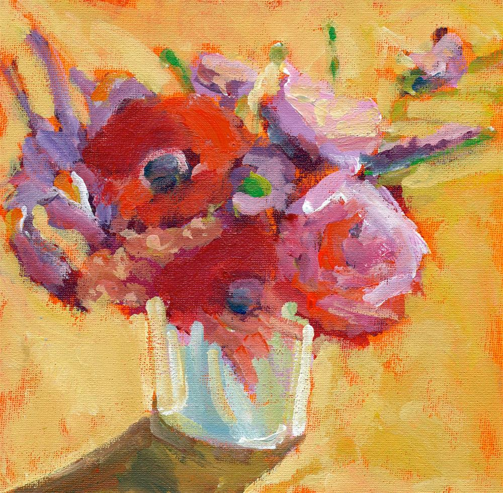 """bouquet of red"" original fine art by Shelley Garries"