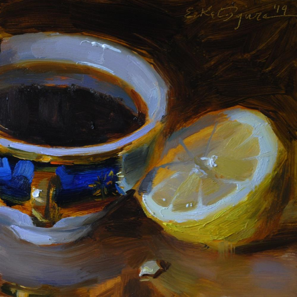 """Black Coffee and Lemon"" original fine art by Elena Katsyura"