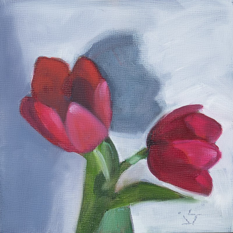 """Tulip Shadow Play - Framed"" original fine art by Johnna Schelling"