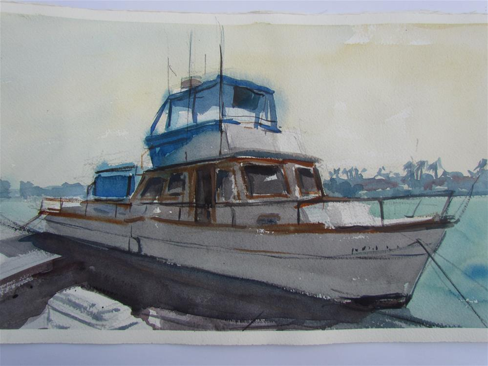 """""""bateau à quai"""" original fine art by gilles Poulizac"""