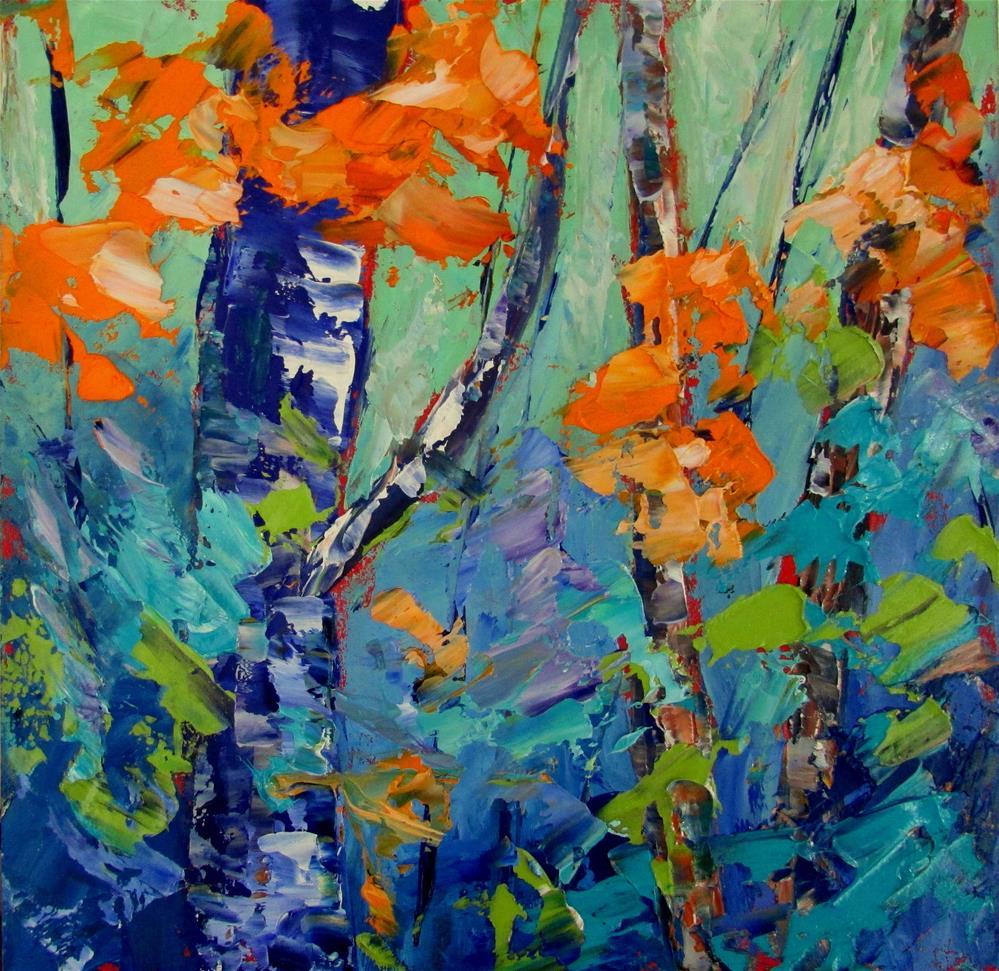 """8 x 8 oil Little Birches #2"" original fine art by Linda Yurgensen"