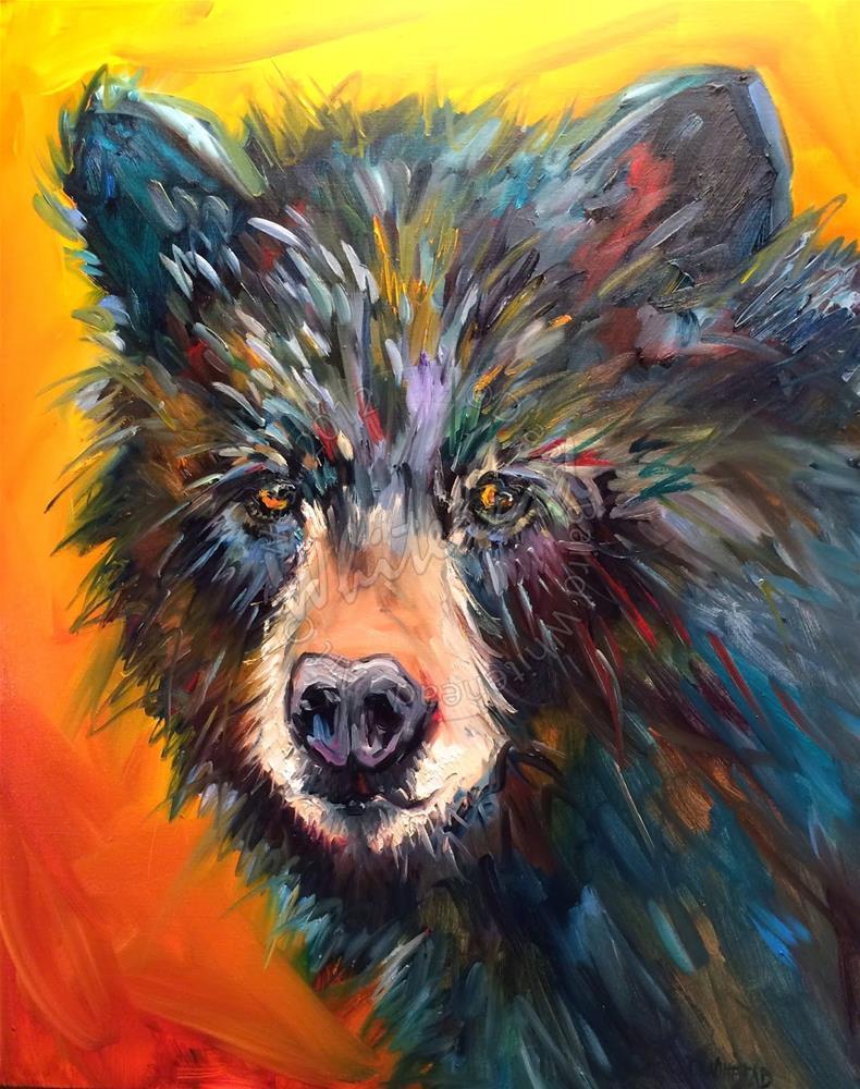"""ARTOUTWEST DIANE WHITEHEAD WILDLIFE ART OIL PAINTING ORIGINAL BLACK BEAR SEES YOU"" original fine art by Diane Whitehead"