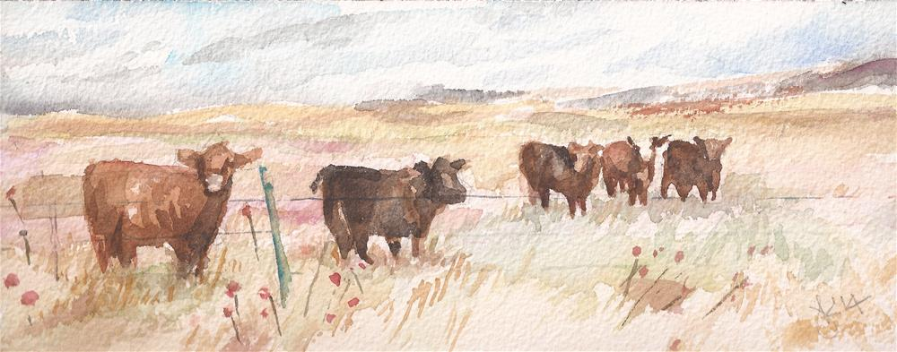 """Colorado Cattle"" original fine art by jean krueger"