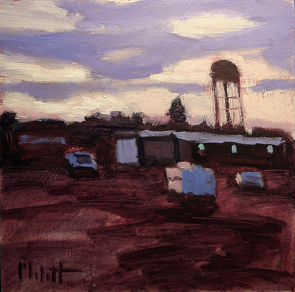"""Industry Sunset Water Tower Original Oil Painting"" original fine art by Heidi Malott"