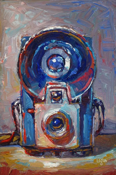 """Kodak Brownie Starflash Camera Blue"" original fine art by Raymond Logan"
