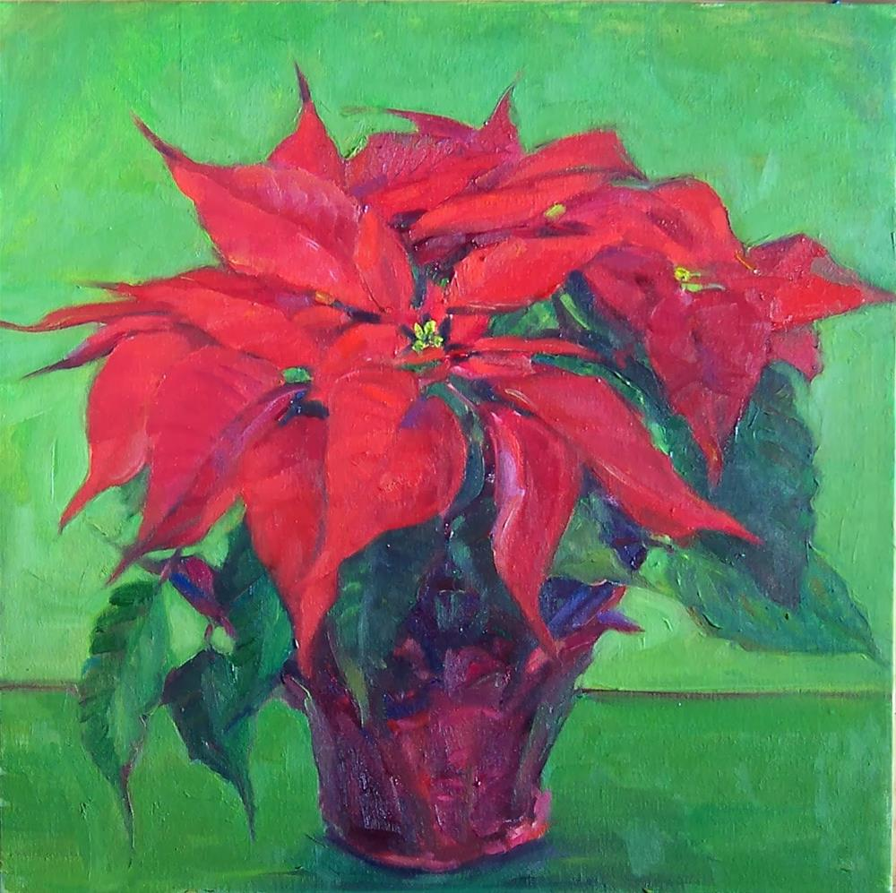 """Christmas Plant,Still life,oil on canvas,16x16,price$200"" original fine art by Joy Olney"