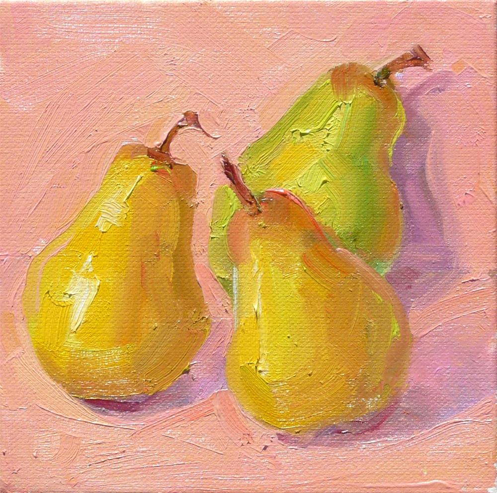 """Garden Pears,still life,oil on canvas,6x6,price$175"" original fine art by Joy Olney"