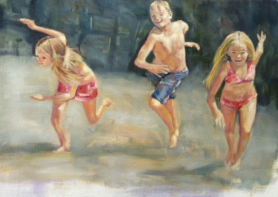 """Day at the beach"" original fine art by Rentia Coetzee"