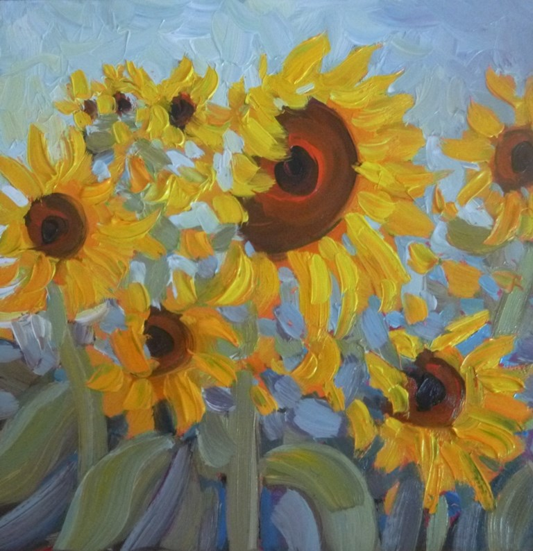 """97 SUNFLOWER SUMMER"" original fine art by Dee Sanchez"