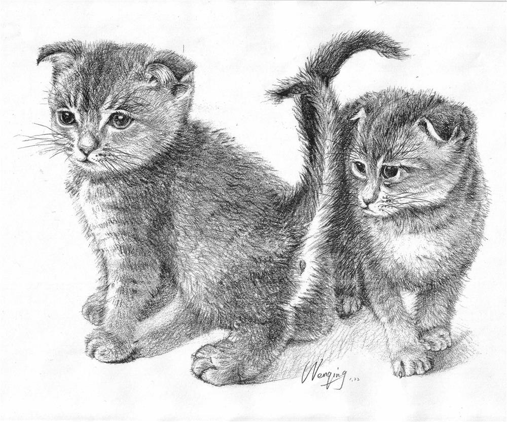 """two cats"" original fine art by Wenqing Xu"
