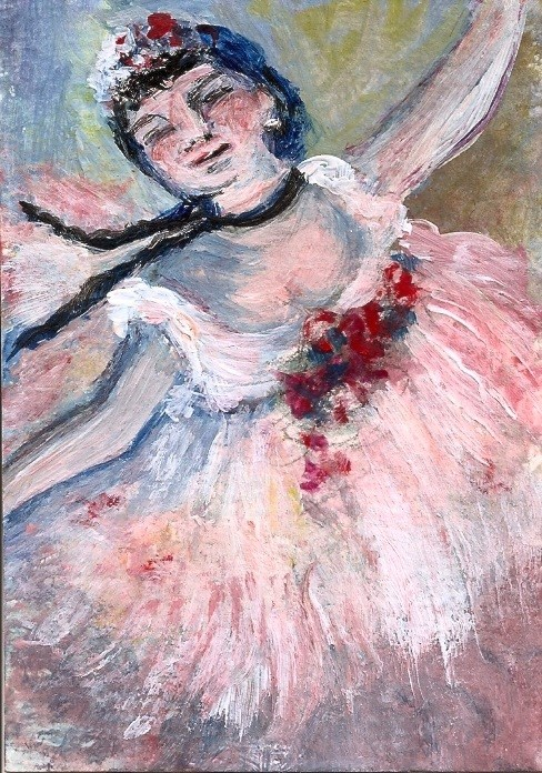 """ACEO Dancer Ballerina Style of Edgar Degas Miniature Masters Penny StewArt"" original fine art by Penny Lee StewArt"