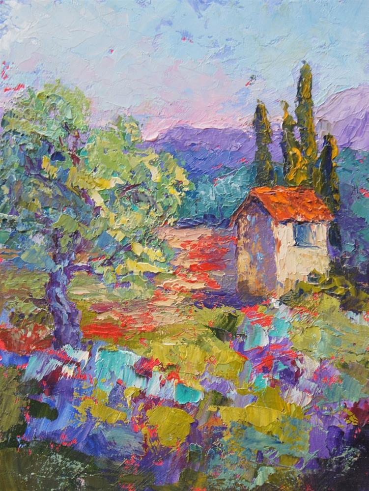 """Le Cabanon Provence, Povence landscape oil palette knife painting"" original fine art by Marion Hedger"