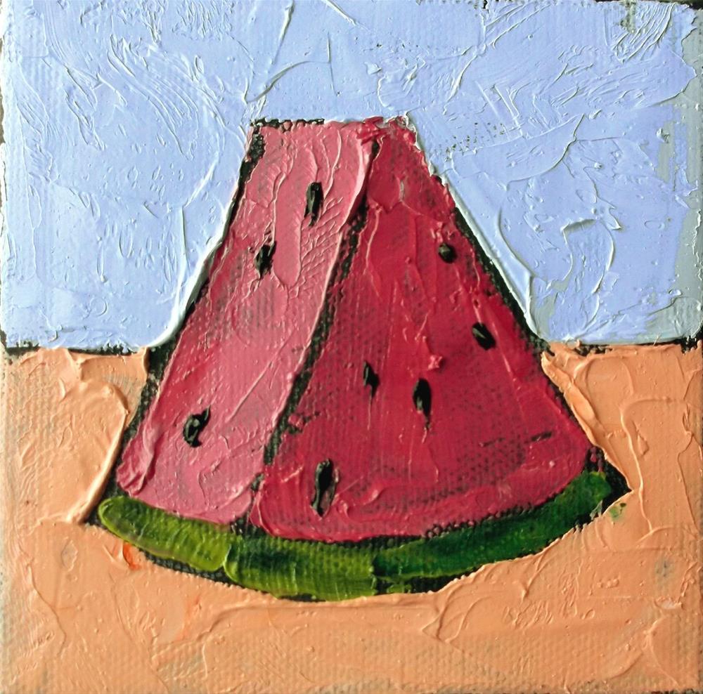"""Miniature Summer Watermelon"" original fine art by lynne french"