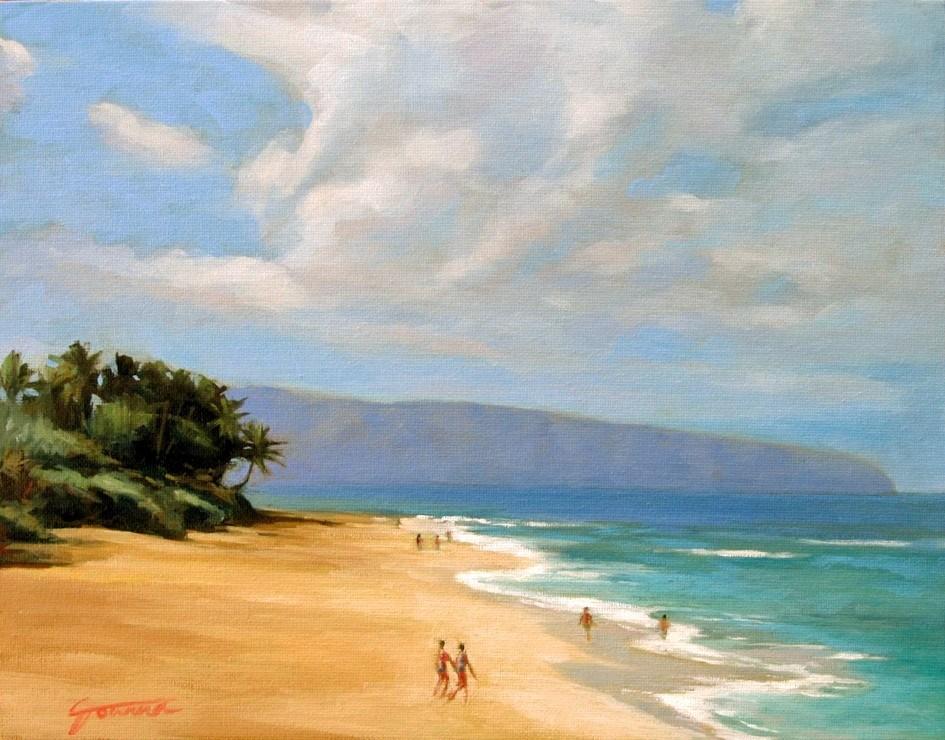 """""""Calm Sunset Beach--Painting of Sunset Beach, Oahu Hawaii"""" original fine art by Joanna Bingham"""