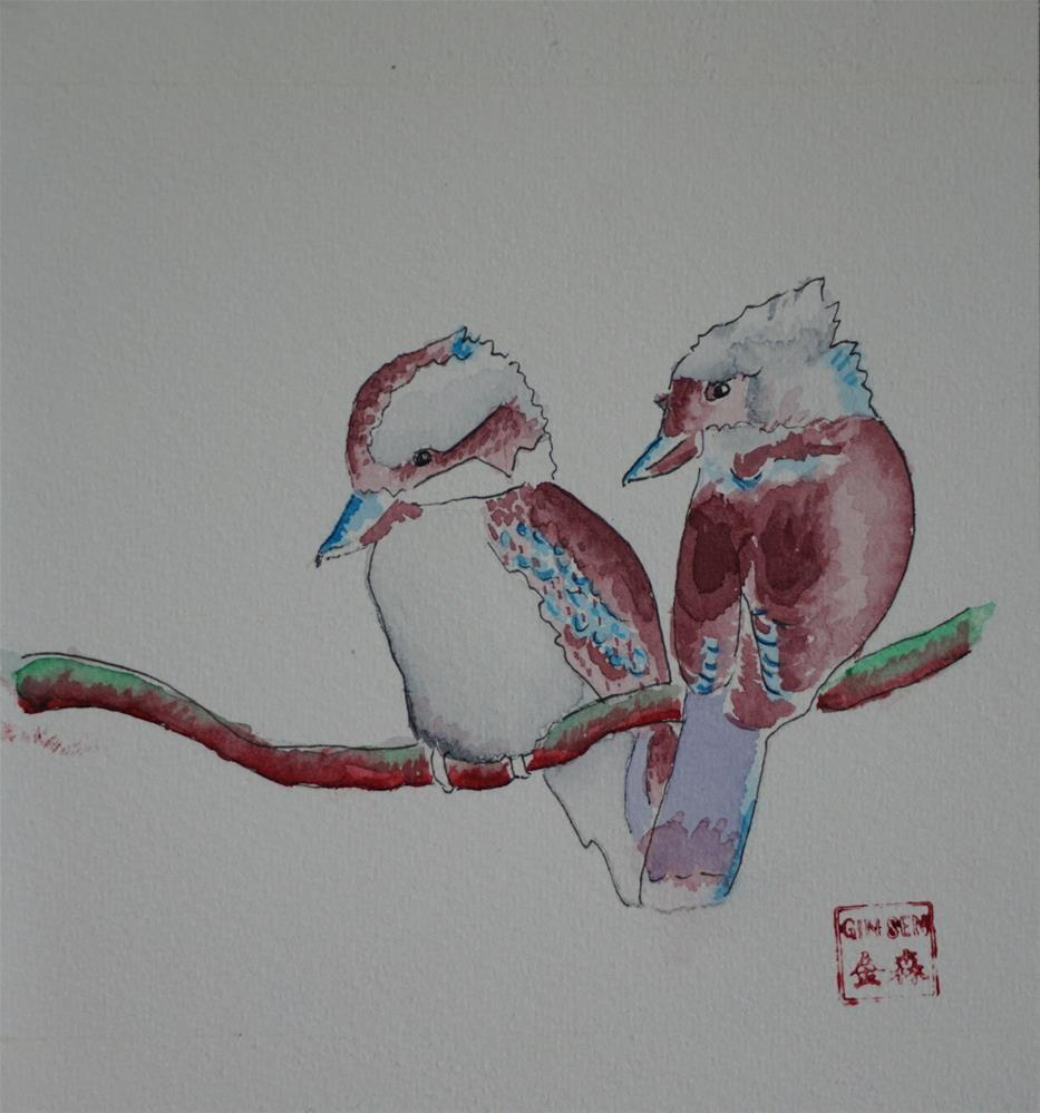 """Kookaburras on a branch"" original fine art by Gin Sen"