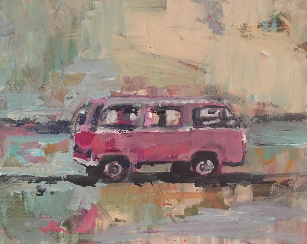 """Little Pink Bus"" original fine art by Molly Wright"