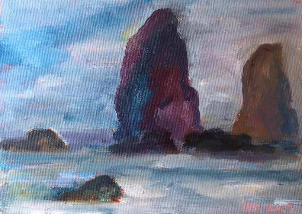 """Haystack Rock"" original fine art by Ceci Lam"