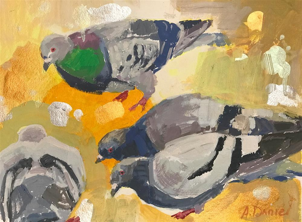 """Pigeons on Yellow #2"" original fine art by Andrew Daniel"