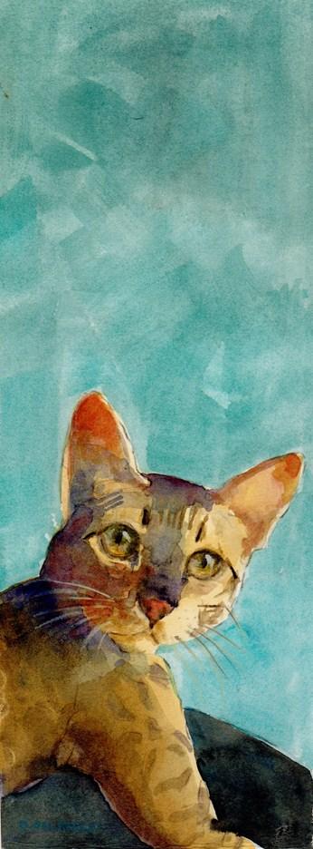 """Watercolor: Did You Just Say Out-of-Cat-Food?"" original fine art by Belinda Del Pesco"