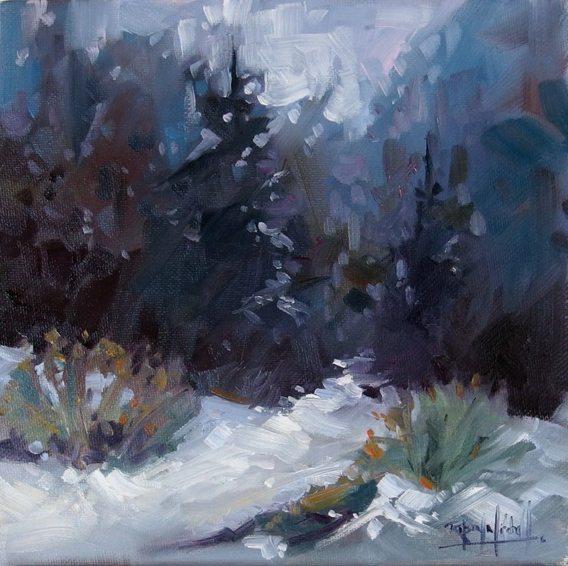 """No 693 Winter Path"" original fine art by Robin J Mitchell"