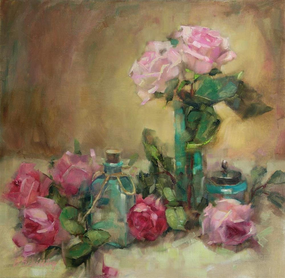 """Turquoise Glass and Roses"" original fine art by Barbara Schilling"
