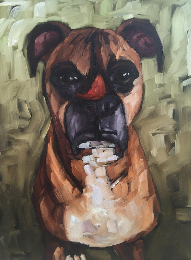 """Beckett the Boxer"" original fine art by Hallie Kohn"