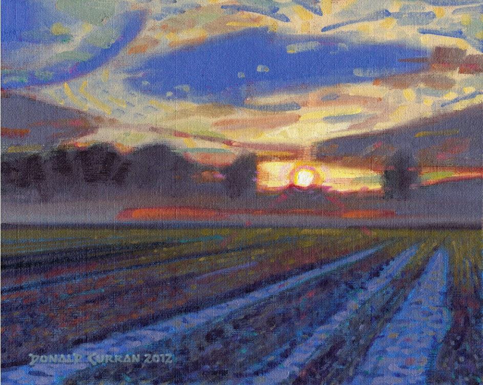 """Misty Sunset"" original fine art by Donald Curran"