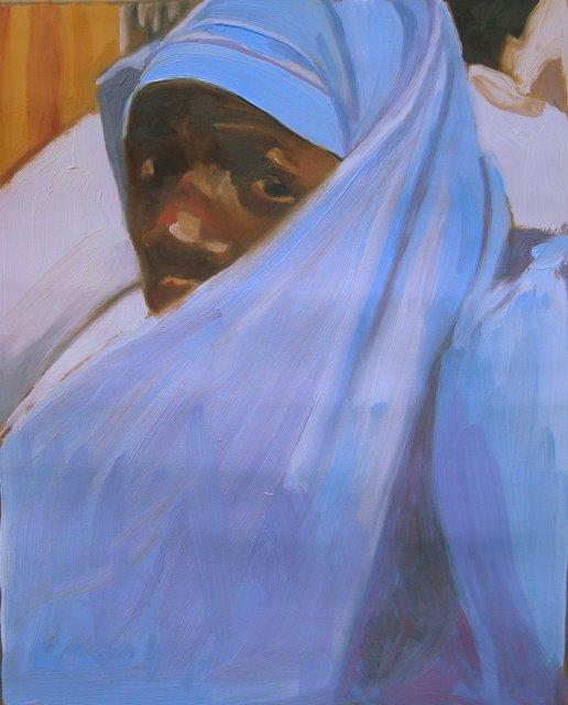 """Muslim Rider  Kampala, Uganda,"" original fine art by Robin Weiss"