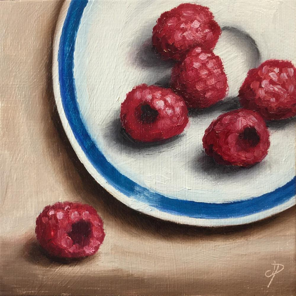 """Raspberries on a plate"" original fine art by Jane Palmer"