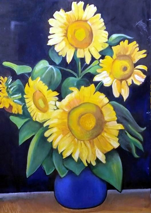 """Homage to Van Gogh, Sunflowers"" original fine art by Selby Minner"