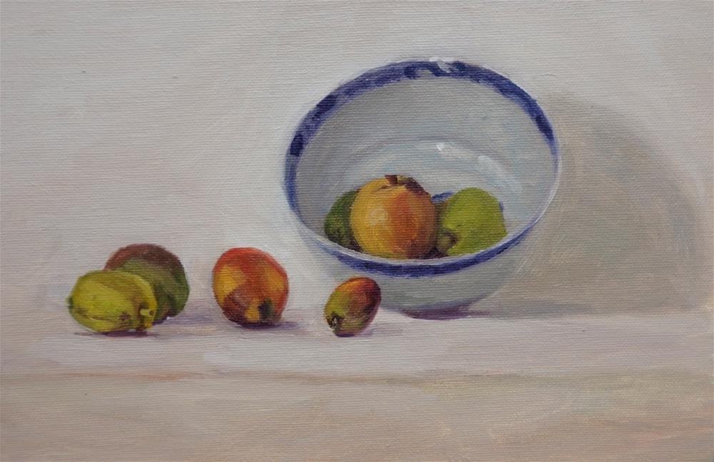 """Fruit and bowl"" original fine art by Jeroen van der Velden"